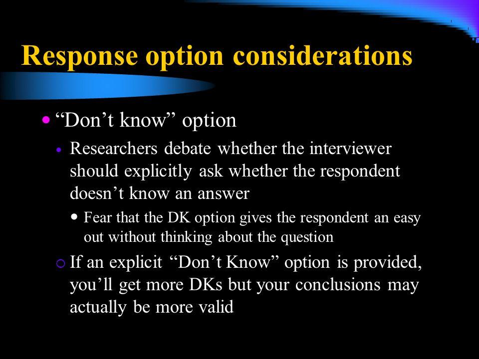 Response option considerations