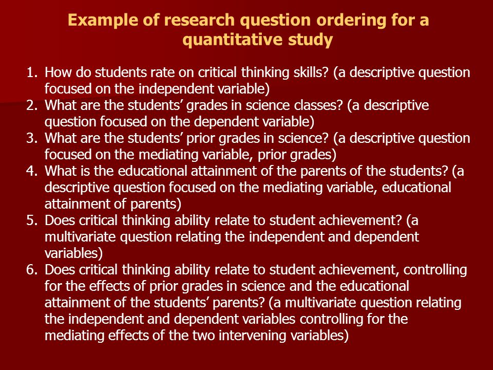 Example of research question ordering for a quantitative study