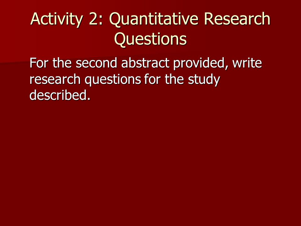 Activity 2: Quantitative Research Questions