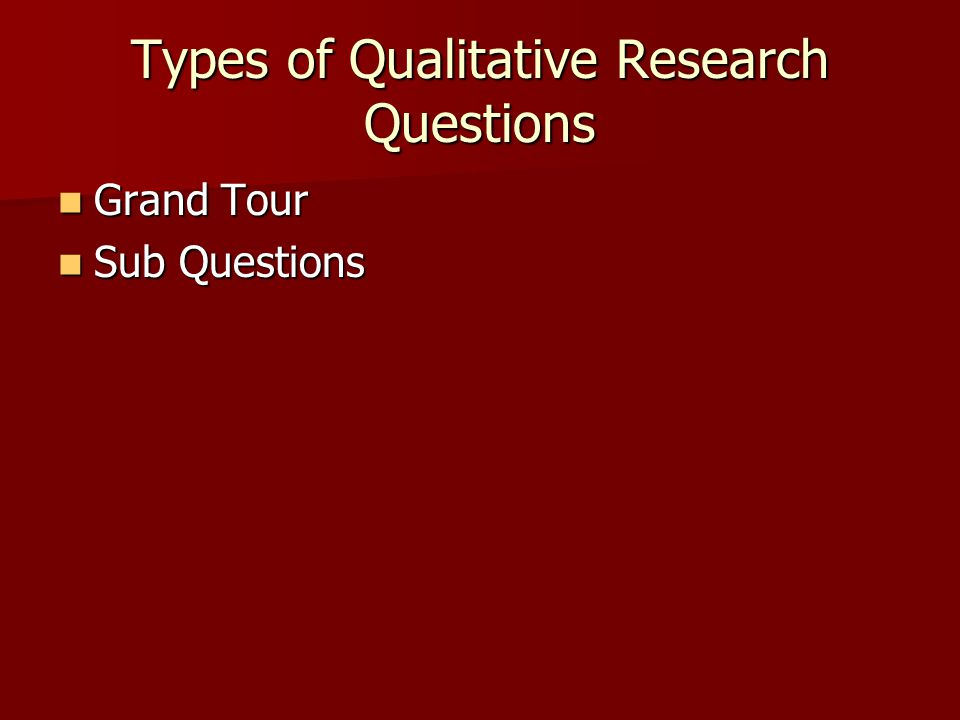 Types of Qualitative Research Questions