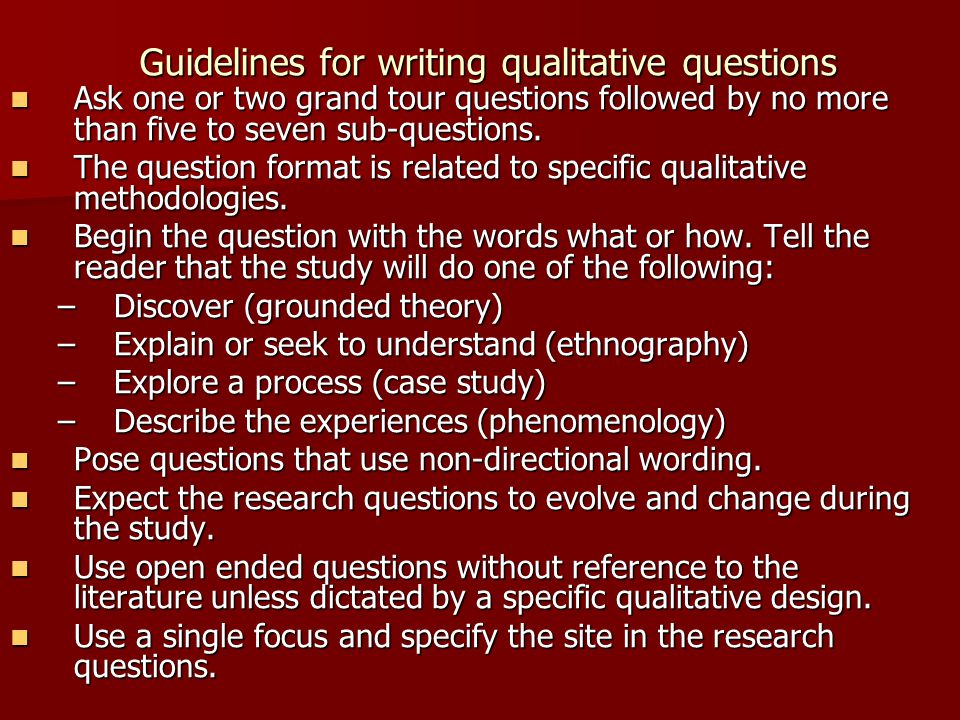 Guidelines for writing qualitative questions