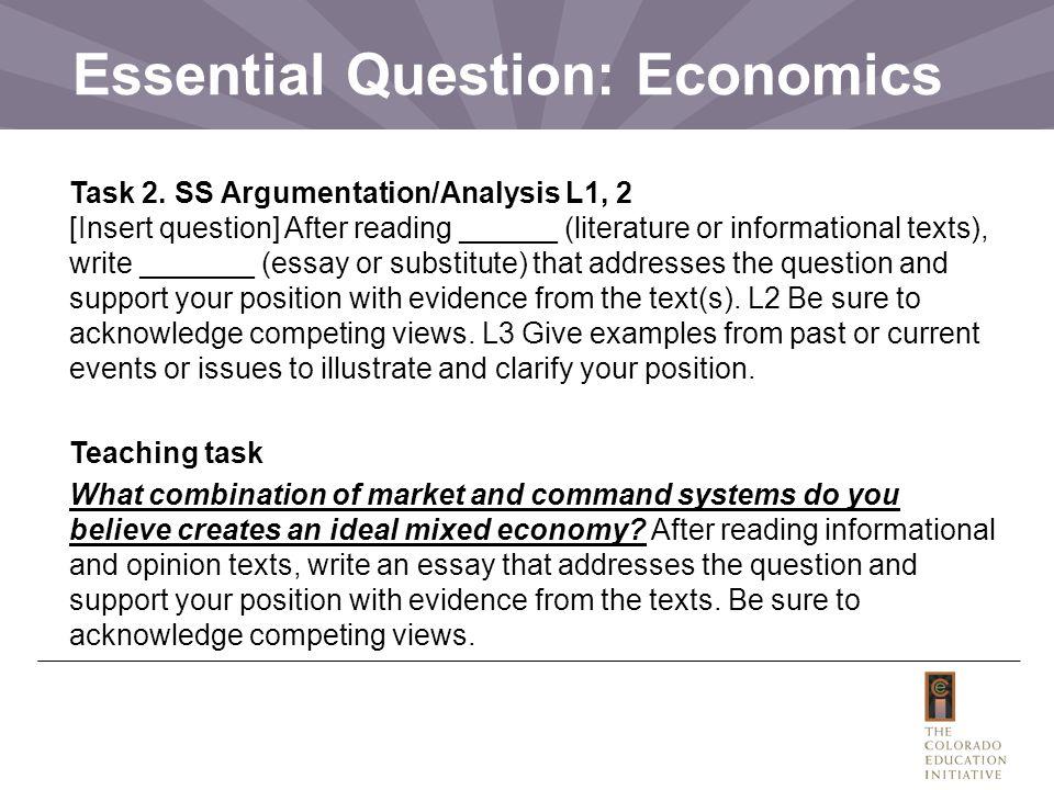 Essential Question: Economics