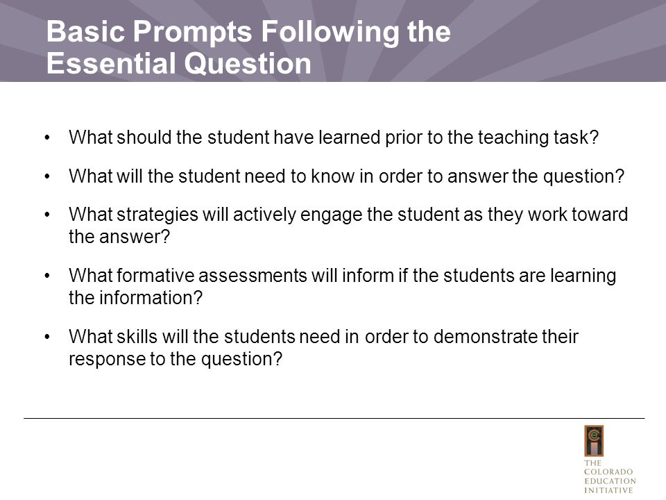 Basic Prompts Following the Essential Question