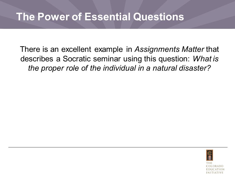 The Power of Essential Questions
