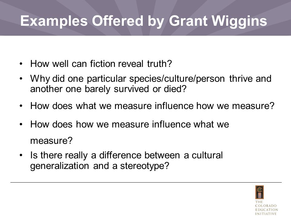 Examples Offered by Grant Wiggins
