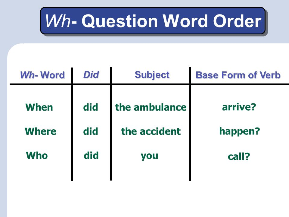 Wh- Question Word Order