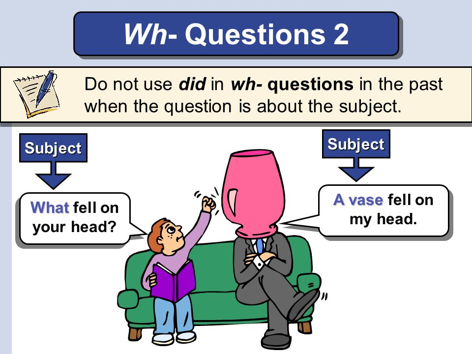 Wh- Questions 2 Do not use did in wh- questions in the past when the question is about the subject.