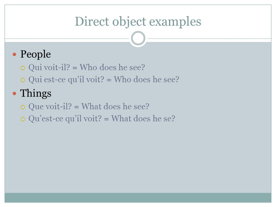 Direct object examples