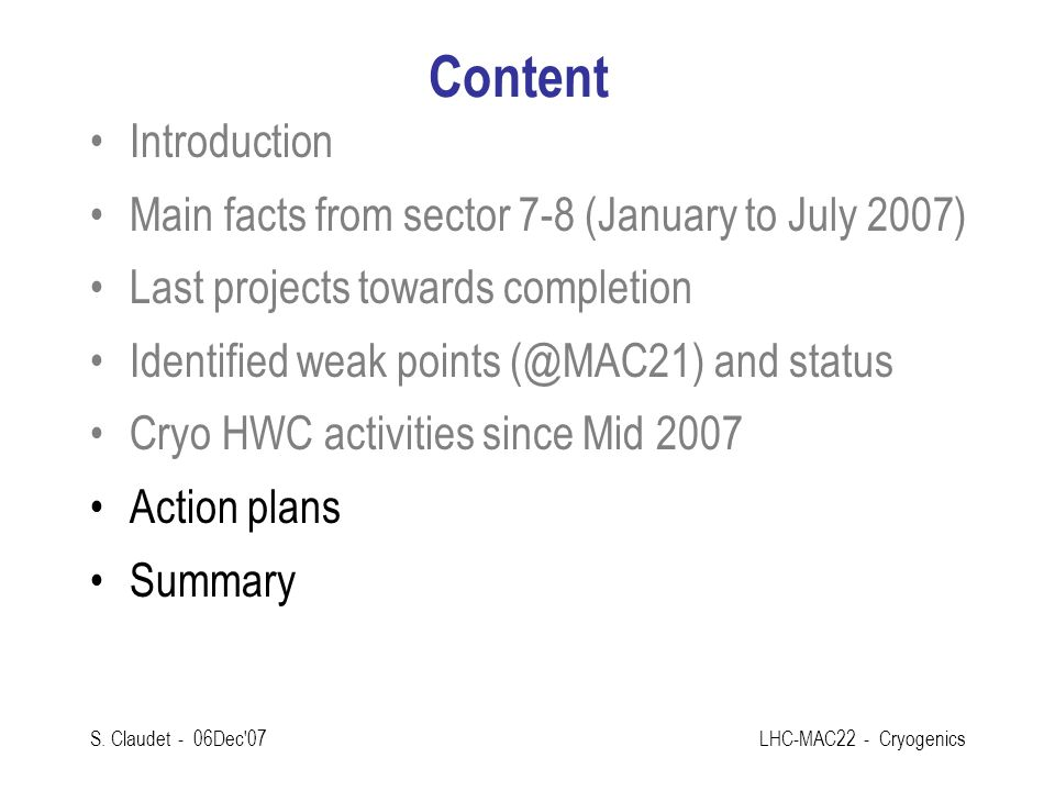 Content Introduction Main facts from sector 7-8 (January to July 2007)