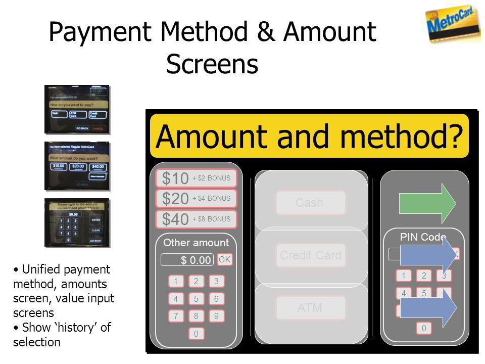 Payment Method & Amount Screens
