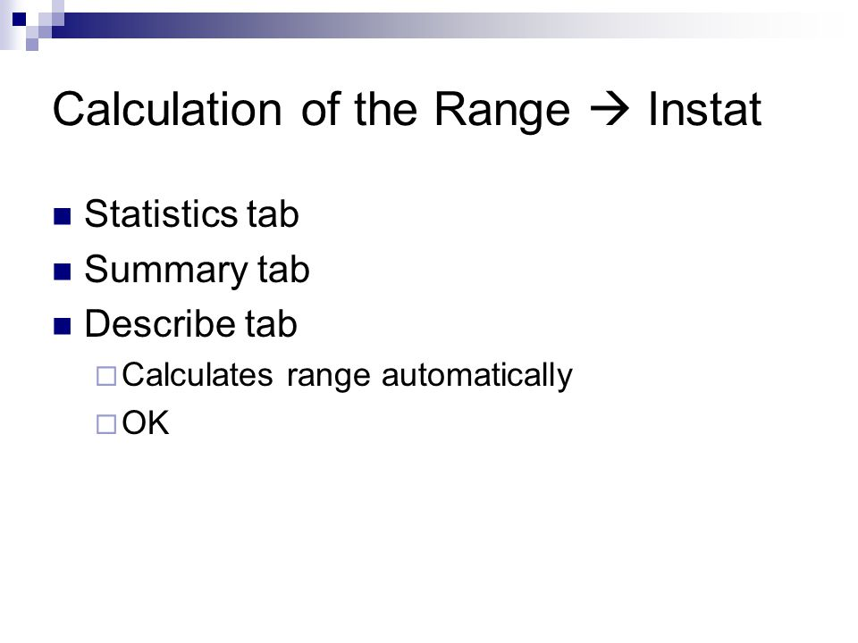 Calculation of the Range  Instat