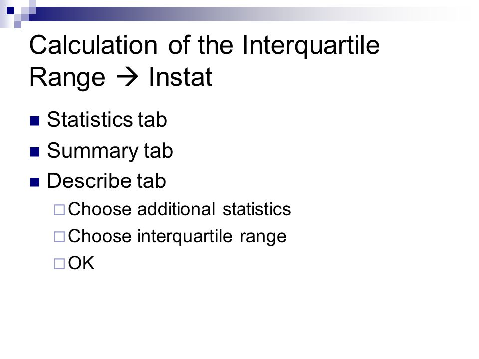 Calculation of the Interquartile Range  Instat