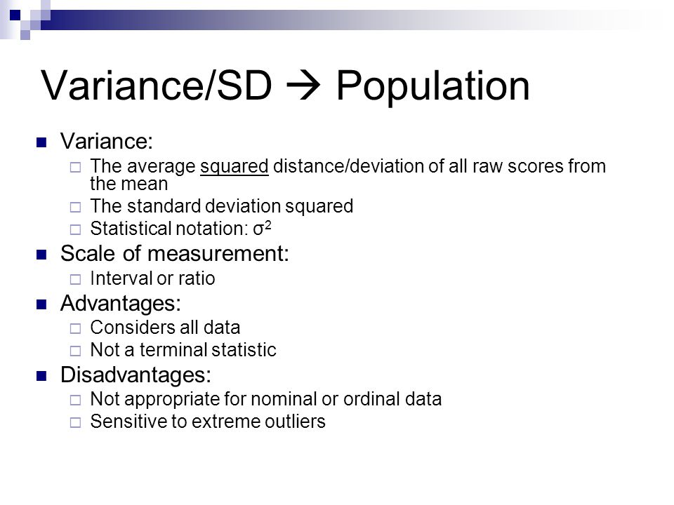 Variance/SD  Population