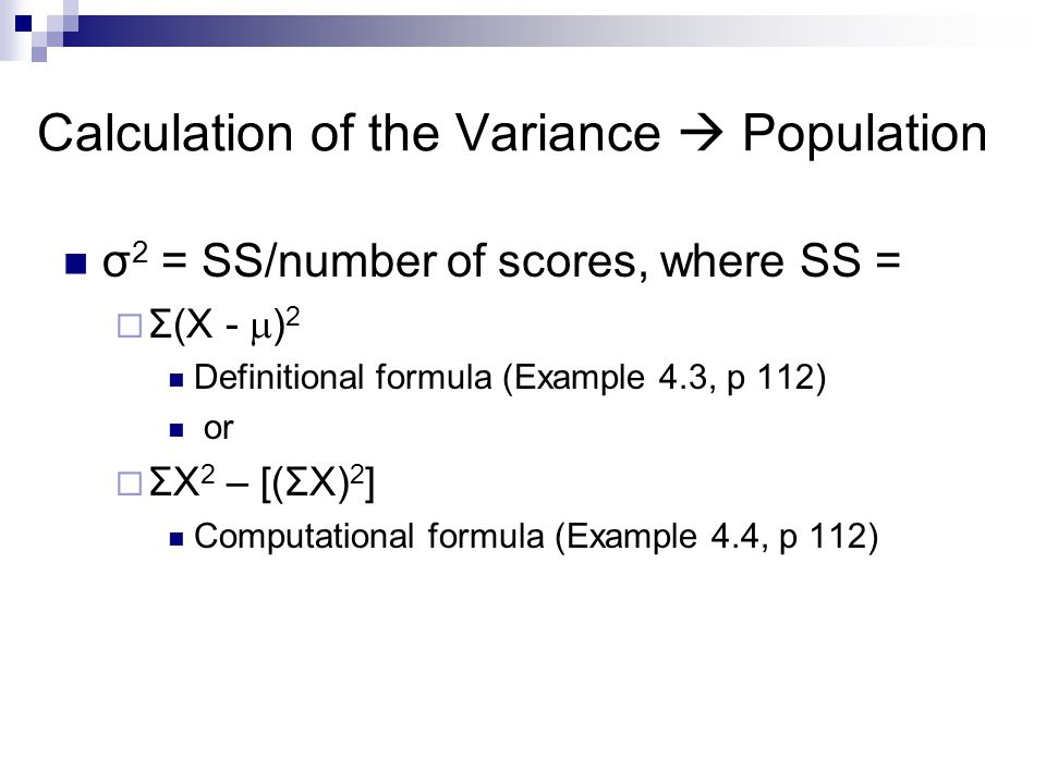 Calculation of the Variance  Population