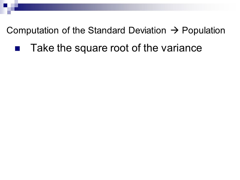 Computation of the Standard Deviation  Population