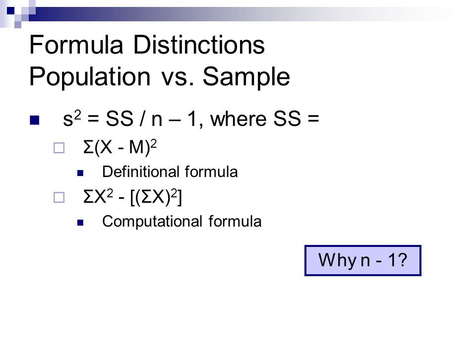 Formula Distinctions Population vs. Sample