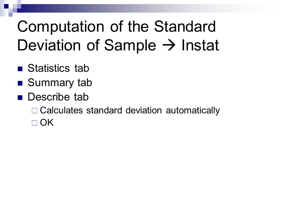 Computation of the Standard Deviation of Sample  Instat