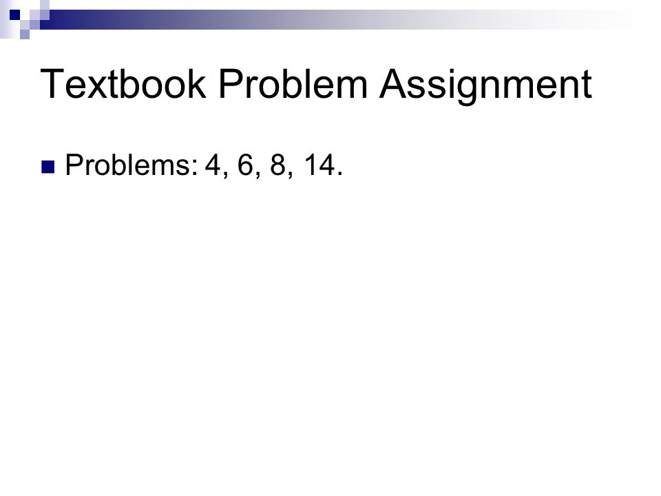 Textbook Problem Assignment