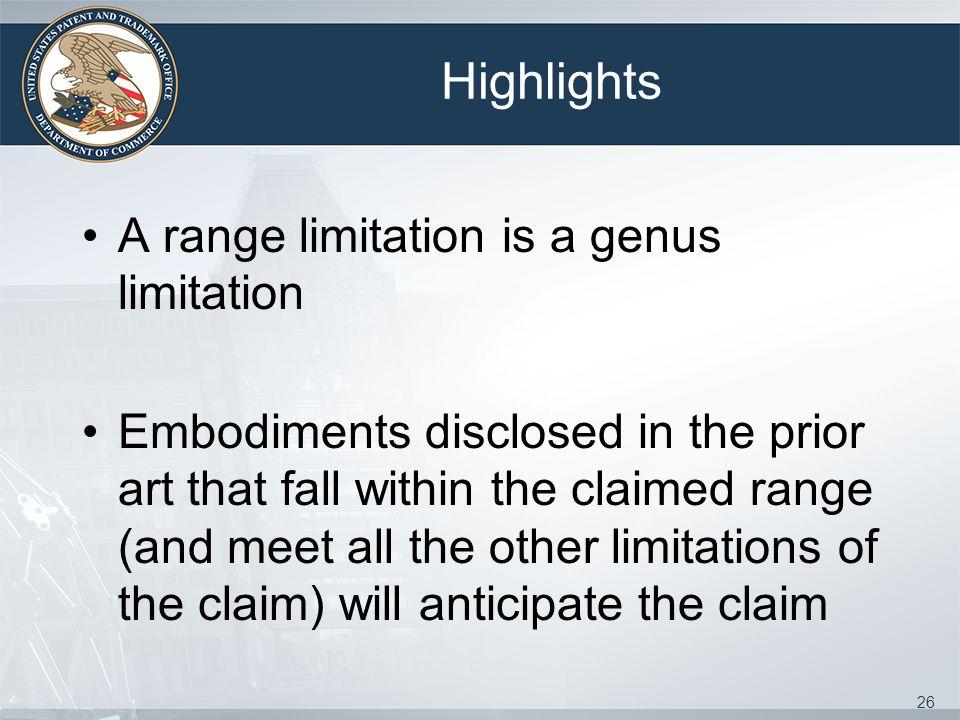 Highlights A range limitation is a genus limitation