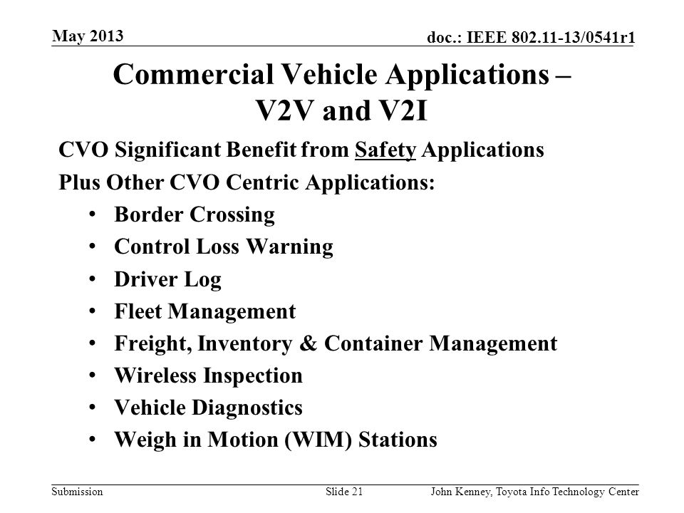 Commercial Vehicle Applications – V2V and V2I