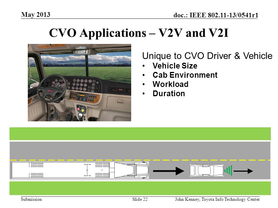 CVO Applications – V2V and V2I