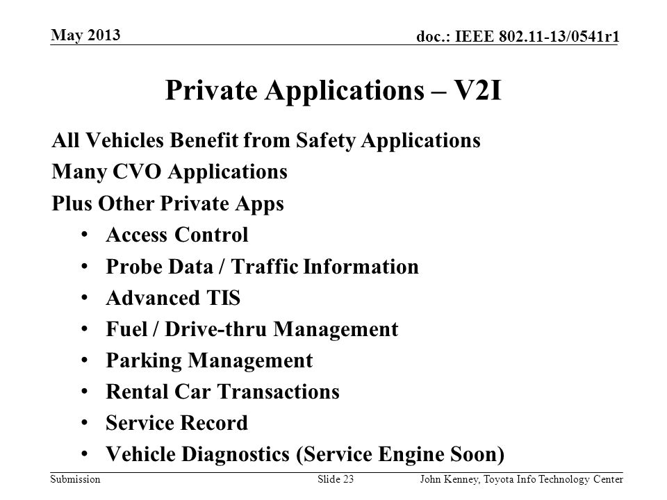 Private Applications – V2I