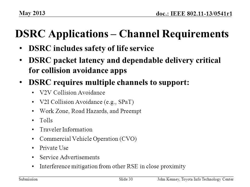 DSRC Applications – Channel Requirements