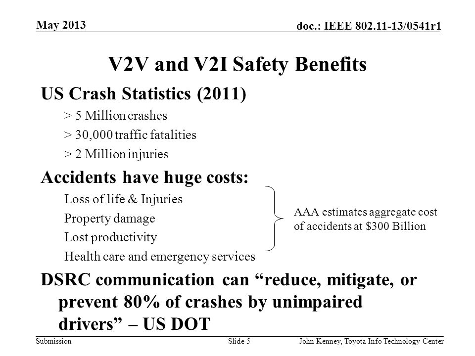 V2V and V2I Safety Benefits