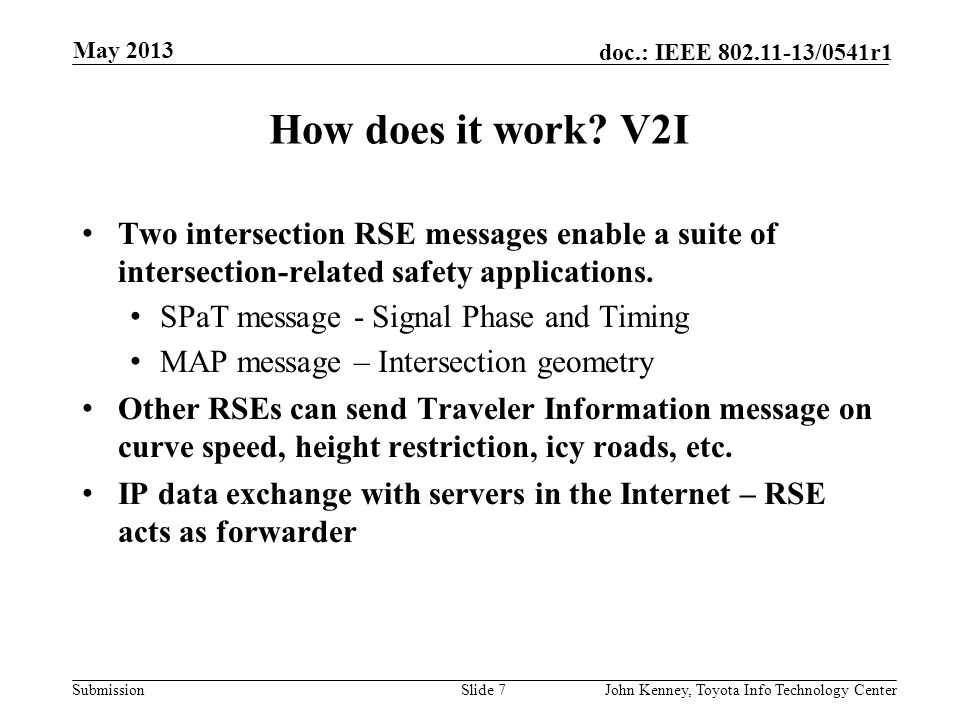 May 2013 How does it work V2I. Two intersection RSE messages enable a suite of intersection-related safety applications.
