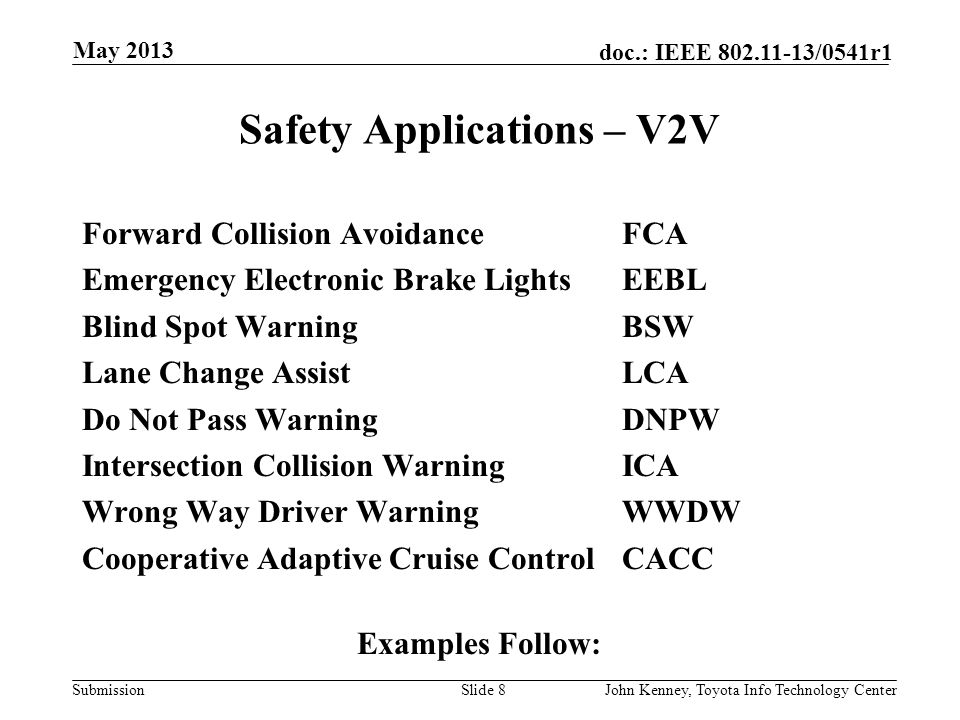 Safety Applications – V2V