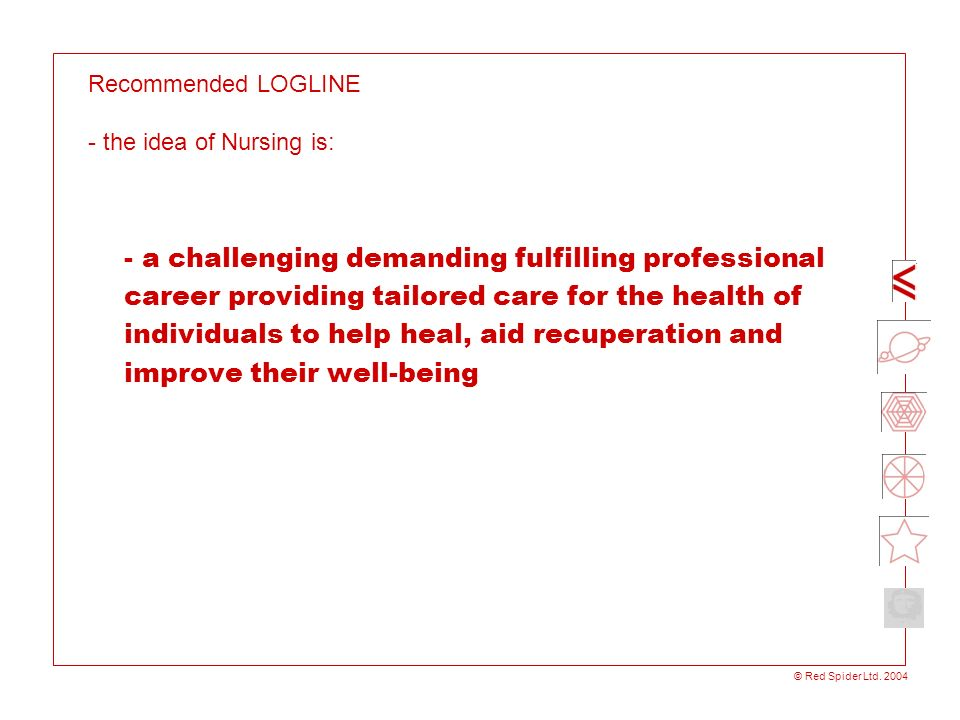 Recommended LOGLINE - the idea of Nursing is: