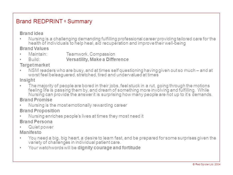 Brand REDPRINT ® Summary