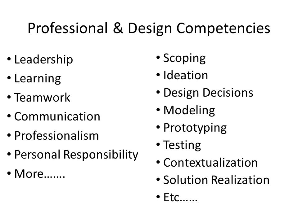 Professional & Design Competencies