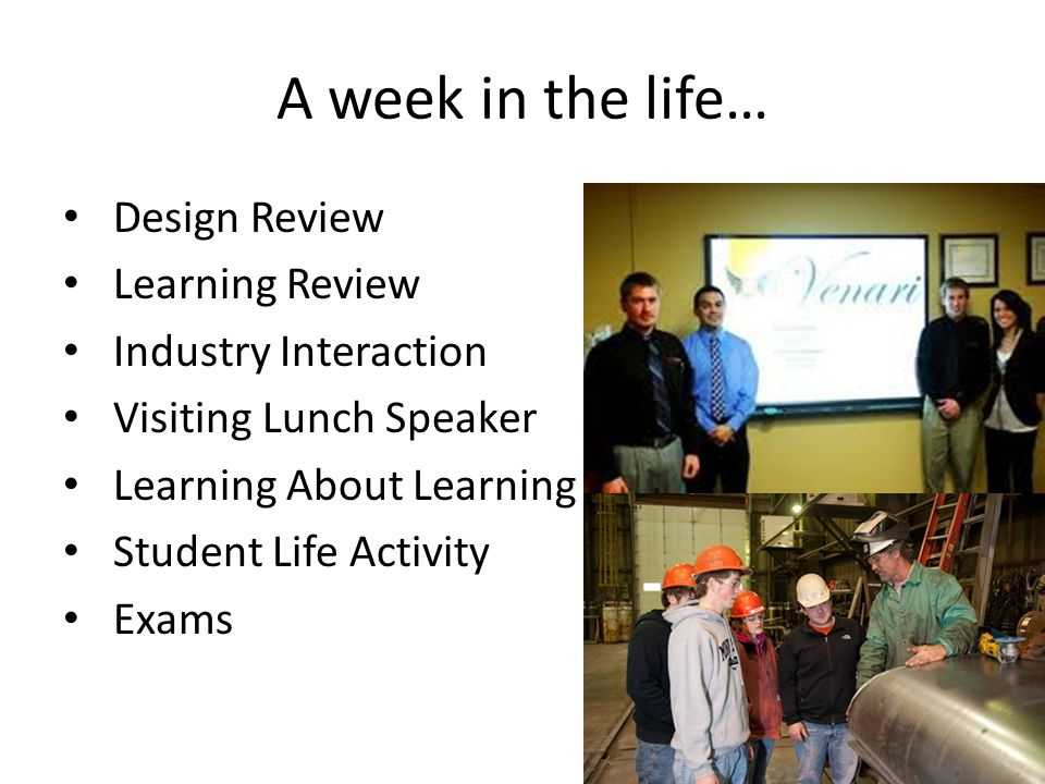 A week in the life… Design Review Learning Review Industry Interaction