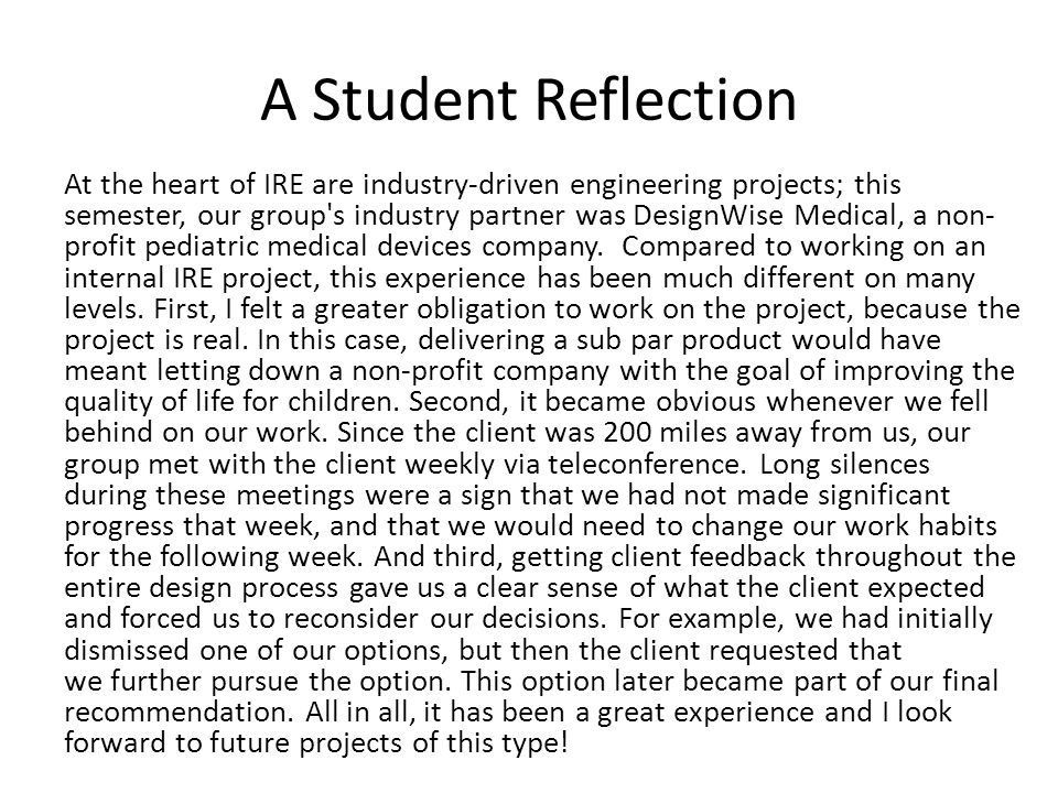 A Student Reflection