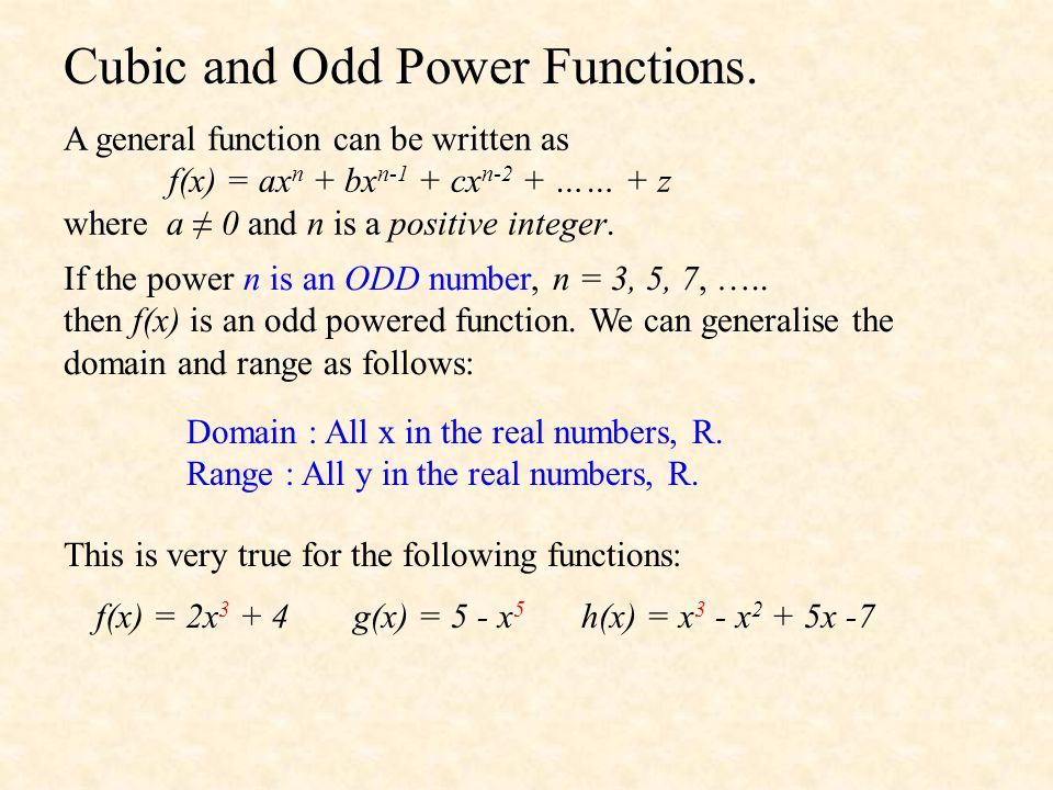 Cubic and Odd Power Functions.