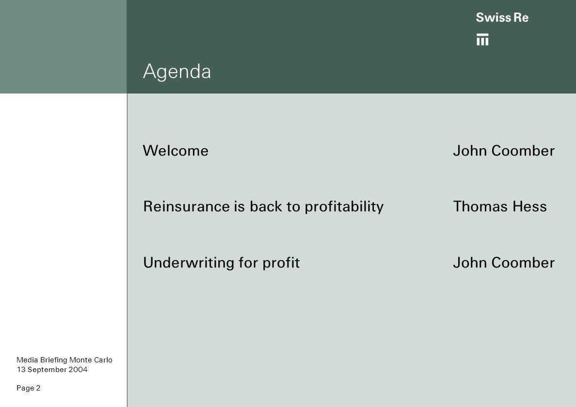 Agenda Welcome John Coomber