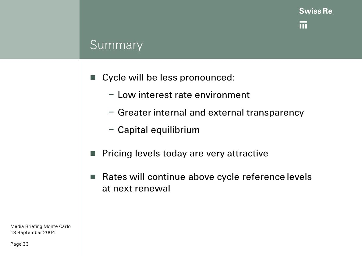 Summary Cycle will be less pronounced: Low interest rate environment