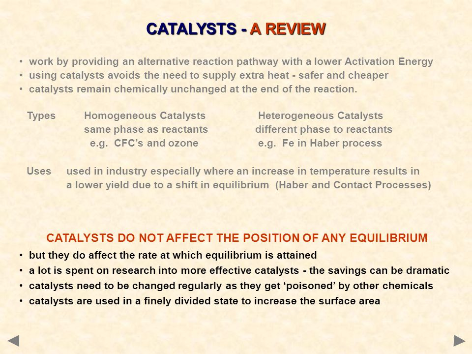 CATALYSTS DO NOT AFFECT THE POSITION OF ANY EQUILIBRIUM