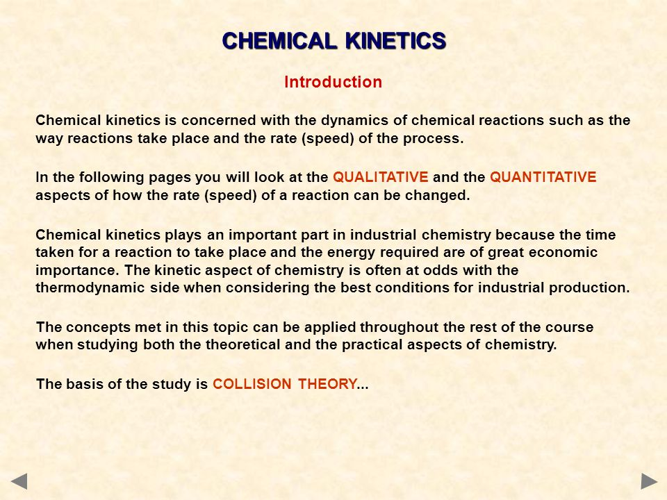 CHEMICAL KINETICS Introduction