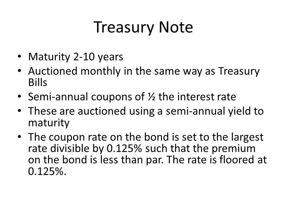 Treasury Note Maturity 2-10 years