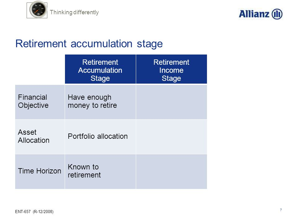 Retirement accumulation stage