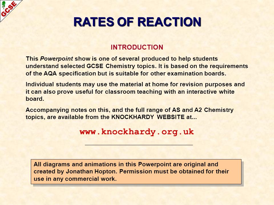 RATES OF REACTION   INTRODUCTION