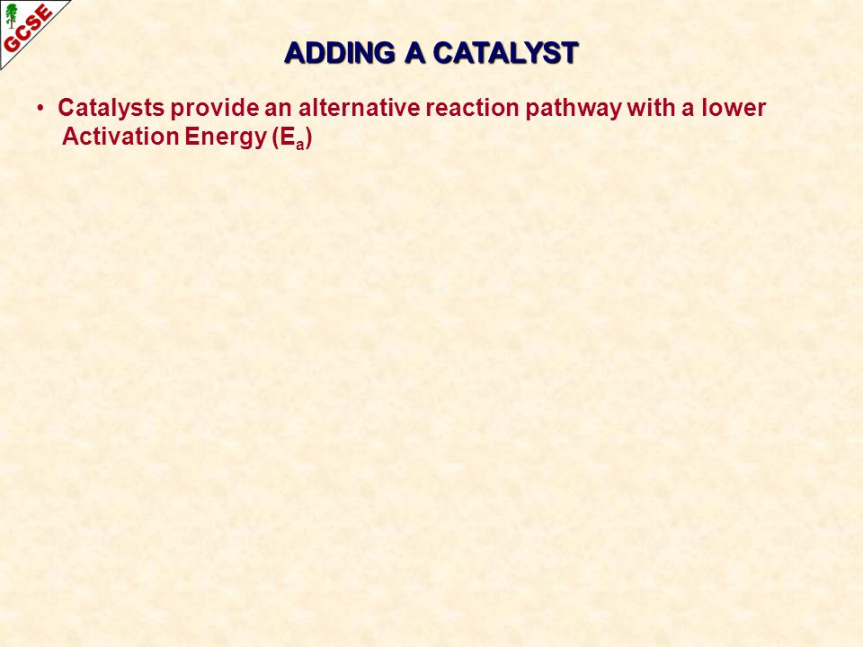 ADDING A CATALYST Catalysts provide an alternative reaction pathway with a lower.