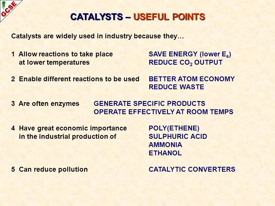 CATALYSTS – USEFUL POINTS