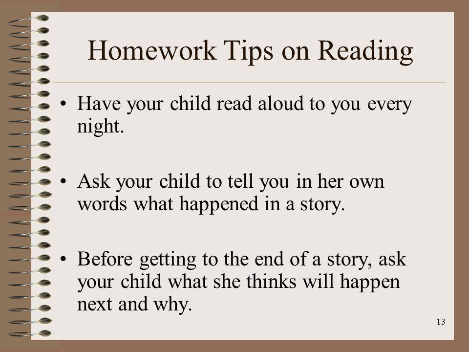 Homework Tips on Reading