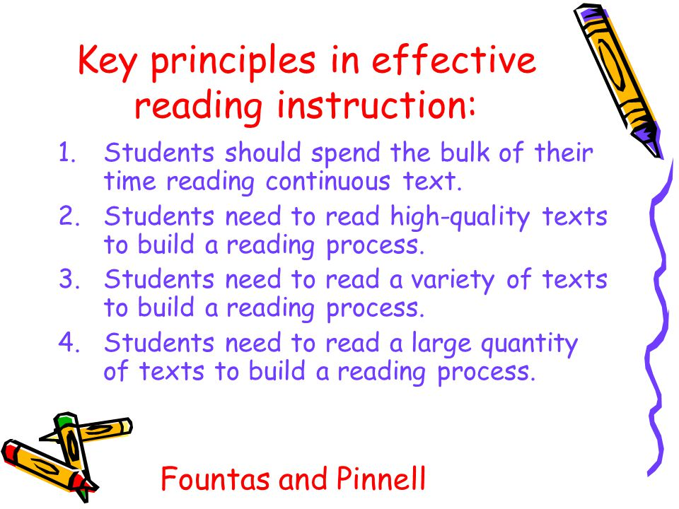 Key principles in effective reading instruction: