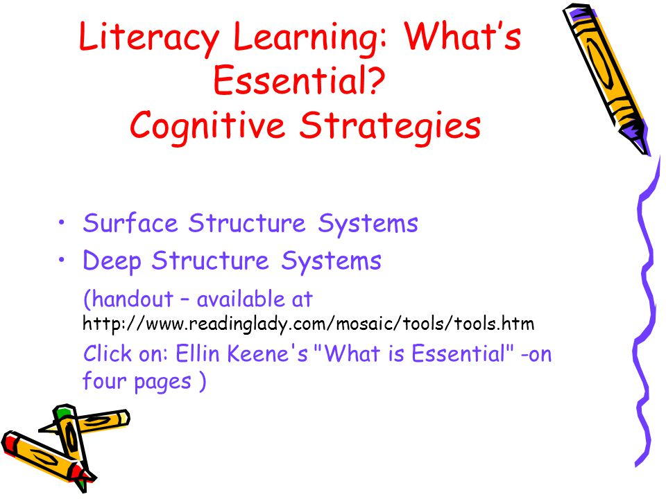 Literacy Learning: What's Essential Cognitive Strategies