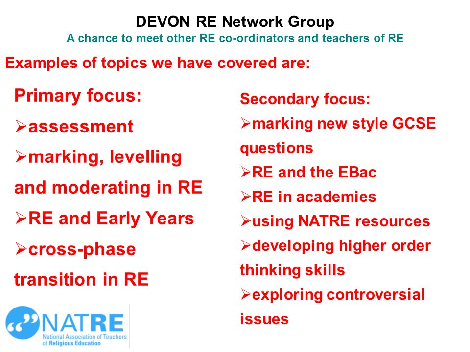 A chance to meet other RE co-ordinators and teachers of RE