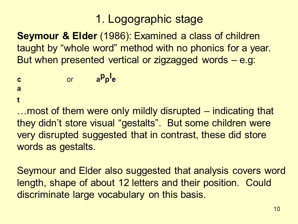 1. Logographic stage